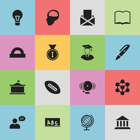 Ensemble de 16 icônes de science modifiables. Comprend des symboles tels que le conseil scolaire, la lampe, le livre et plus. Peut être utilisé pour la conception Web, mobile, UI et infographique.