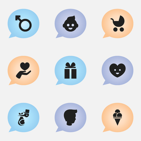 Set Of 9 Editable Folks Icons. Includes Symbols Such As Soul, Man Emblem, Perambulator And More.