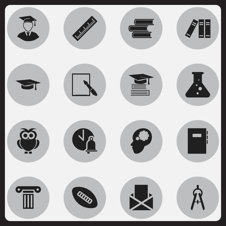 Ensemble de 16 icônes scolaires modifiables. Inclut des symboles tels que boule ovale, idée créative, cloche d'école et plus encore. Peut être utilisé pour Web, Mobile, UI et conception infographique.