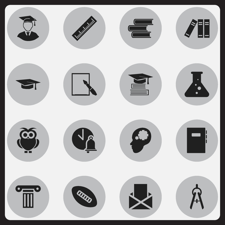 Set Of 16 Editable School Icons. Includes Symbols Such As Oval Ball, Creative Idea, School Bell And More. Can Be Used For Web, Mobile, UI And Infographic Design. Illustration