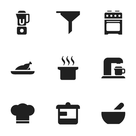 Set Of 9 Editable Cooking Icons. Includes Symbols Such As Fried Chicken, Stove, Filtering And More. Can Be Used For Web, Mobile, UI And Infographic Design. Illustration