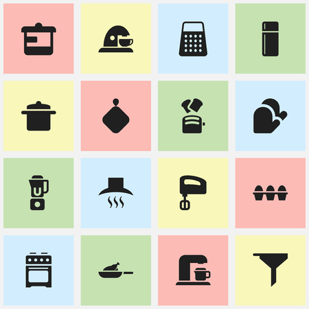 Set Of 16 Editable Cooking Icons. Includes Symbols Such As Kitchen Hood, Egg Carton, Agitator And More. Can Be Used For Web, Mobile, UI And Infographic Design.