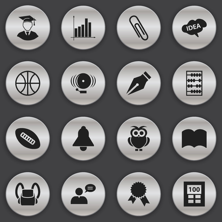 Set Of 16 Editable School Icons. Includes Symbols Such As Bell, Arithmetic, Diplomaed Male And More. Can Be Used For Web, Mobile, UI And Infographic Design. Illustration