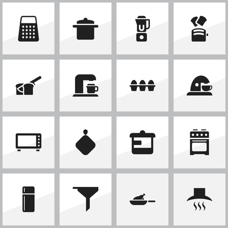 Set Of 16 Editable Food Icons. Includes Symbols Such As Stove , Hand Mixer, Bakery. Can Be Used For Web, Mobile, UI And Infographic Design.