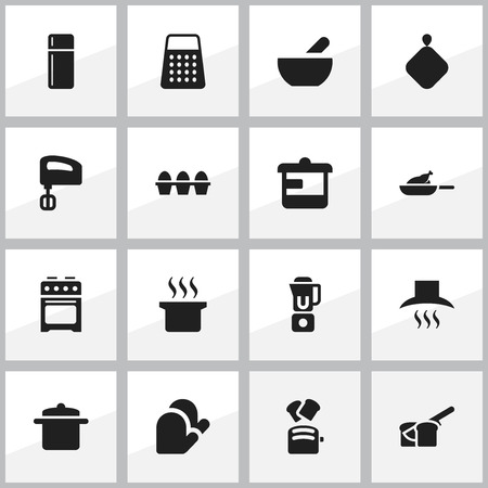 Set Of 16 Editable Food Icons. Includes Symbols Such As Hand Mixer, Kitchen Glove, Slice Bread. Can Be Used For Web, Mobile, UI And Infographic Design. Vector Illustration