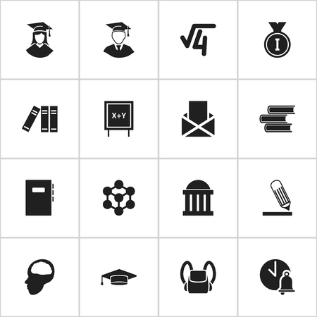 Set Of 16 Editable School Icons. Includes Symbols Such As Blackboard, Molecule, Courtroom And More. Can Be Used For Web, Mobile, UI And Infographic Design. Ilustração