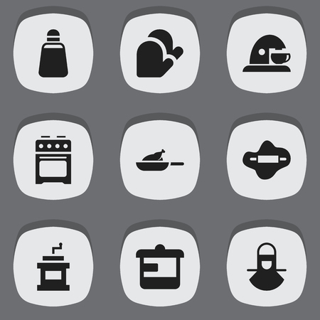 originator: Set Of 9 Editable Meal Icons. Includes Symbols Such As Rocker Blade, Cup, Grill And More. Can Be Used For Web, Mobile, UI And Infographic Design. Illustration