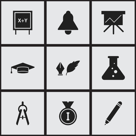 technical university: Set Of 9 Editable School Icons. Includes Symbols Such As Graduate, Literature, Chemistry And More. Can Be Used For Web, Mobile, UI And Infographic Design.