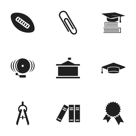 univercity: Set Of 9 Editable School Icons. Includes Symbols Such As Univercity, Bookshelf, Oval Ball And More. Can Be Used For Web, Mobile, UI And Infographic Design.