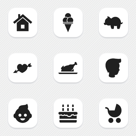 Set Of 9 Editable Folks Icons. Includes Symbols Such As Love, Cold Dessert, Boy And More. Can Be Used For Web, Mobile, UI And Infographic Design.