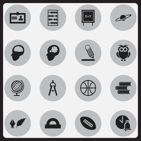 scale icon: Set Of 16 Editable Graduation Icons. Includes Symbols Such As School Bell, Writing, Creative Idea And More. Can Be Used For Web, Mobile, UI And Infographic Design.