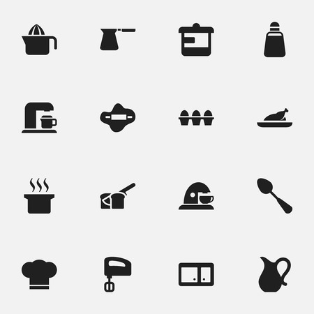 sideboard: Set Of 16 Editable Meal Icons. Includes Symbols Such As Bakery, Fried Chicken, Sideboard And More. Can Be Used For Web, Mobile, UI And Infographic Design.