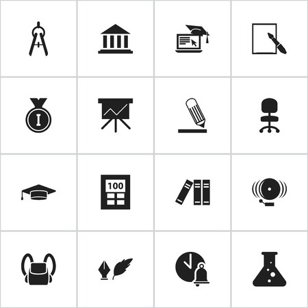 Set Of 16 Editable Education Icons. Includes Symbols Such As Ring, School Bell, First Place And More. Can Be Used For Web, Mobile, UI And Infographic Design.