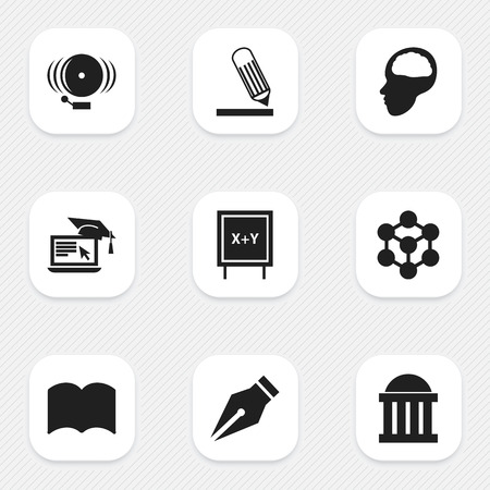 Set Of 9 Editable School Icons. Includes Symbols Such As Nib, Molecule, Writing And More. Can Be Used For Web, Mobile, UI And Infographic Design.