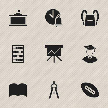 Set Of 9 Editable Education Icons. Includes Symbols Such As Chart Board, Schoolbag, Univercity And More. Can Be Used For Web, Mobile, UI And Infographic Design.