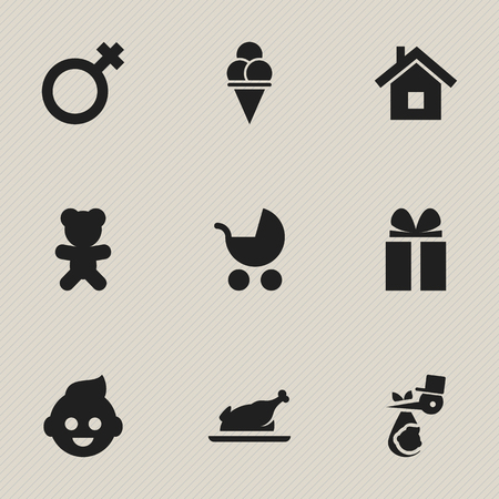 flue: Set Of 9 Editable Kin Icons. Includes Symbols Such As Toy, Child, Baby And More. Can Be Used For Web, Mobile, UI And Infographic Design.