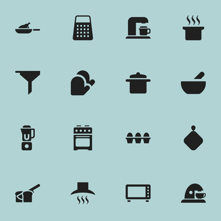 Set Of 16 Editable Food Icons. Includes Symbols Such As Drink Maker, Kitchen Hood, Cup And More. Can Be Used For Web, Mobile, UI And Infographic Design.