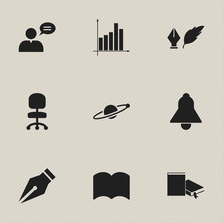 Ensemble de 9 icônes d'éducation modifiable. Comprend des symboles tels que l'homme pensant, la littérature, le siège de travail et plus encore. Peut être utilisé pour la conception Web, mobile, UI et infographique. Vecteurs