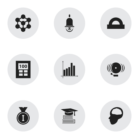 baccalaureate: Set Of 9 Editable Science Icons. Includes Symbols Such As Education, Calculator, Ring And More. Can Be Used For Web, Mobile, UI And Infographic Design.