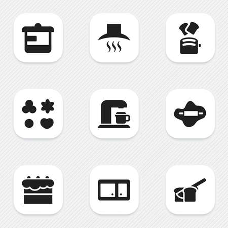 Set Of 9 Editable Meal Icons. Includes Symbols Such As Dough, Slice Bread, Utensil And More. Can Be Used For Web, Mobile, UI And Infographic Design.
