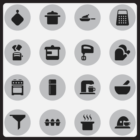 bread maker: Set Of 16 Editable Meal Icons. Includes Symbols Such As Agitator, Stove, Cookware And More. Can Be Used For Web, Mobile, UI And Infographic Design.