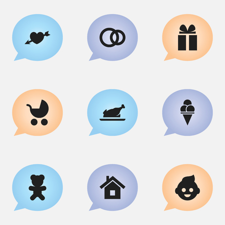 Set Of 9 Editable Folks Icons. Includes Symbols Such As Fried Chicken, Cold Dessert, Love And More. Can Be Used For Web, Mobile, UI And Infographic Design. Imagens - 76269835