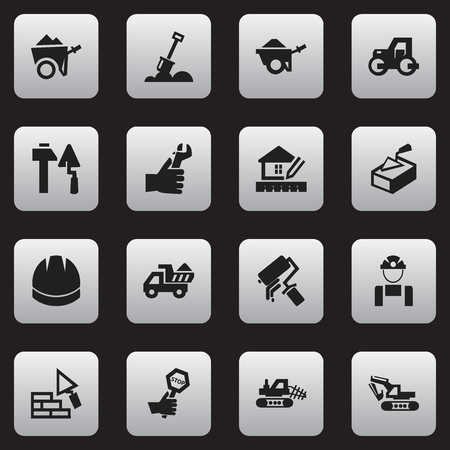 tractor warning: Set Of 16 Editable Building Icons. Includes Symbols Such As Scrub, Excavation Machine, Spatula And More. Can Be Used For Web, Mobile, UI And Infographic Design.
