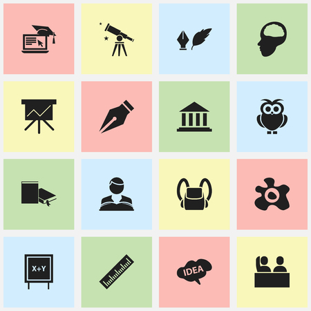 perusal: Set Of 16 Editable Graduation Icons. Includes Symbols Such As Studying Boy, Nib, Museum And More. Can Be Used For Web, Mobile, UI And Infographic Design.