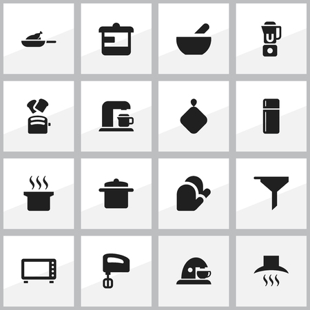 Set Of 16 Editable Meal Icons. Includes Symbols Such As Filtering, Kitchen Glove, Drink Maker And More. Can Be Used For Web, Mobile, UI And Infographic Design.