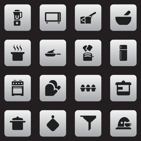 Set Of 16 Editable Food Icons. Includes Symbols Such As Cup, Pot-Holder, Filtering And More. Can Be Used For Web, Mobile, UI And Infographic Design.