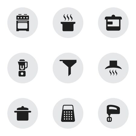 steam cooker: Set Of 9 Editable Meal Icons. Includes Symbols Such As Soup Pot, Shredder, Cookware And More. Can Be Used For Web, Mobile, UI And Infographic Design. Illustration