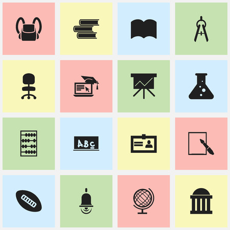 baccalaureate: Set Of 16 Editable School Icons. Includes Symbols Such As Alarm Bell, Earth Planet, Chemistry And More. Can Be Used For Web, Mobile, UI And Infographic Design. Illustration