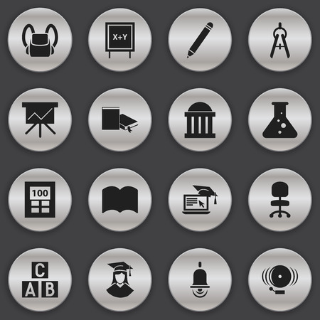 comfort classroom: Set Of 16 Editable School Icons. Includes Symbols Such As Alphabet Cube, Bookmark, Graduated Female And More. Can Be Used For Web, Mobile, UI And Infographic Design.