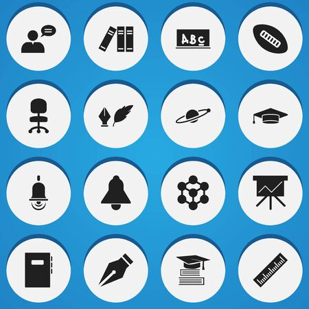 literature: Set Of 16 Editable Education Icons. Includes Symbols Such As Astrology, Workbook, Thinking Man And More. Can Be Used For Web, Mobile, UI And Infographic Design.