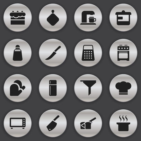 Set Of 16 Editable Food Icons. Includes Symbols Such As Utensil, Sword, Filtering And More. Can Be Used For Web, Mobile, UI And Infographic Design.