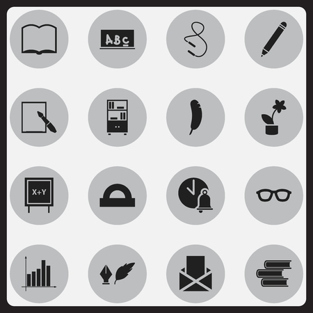 Set Of 16 Editable Education Icons. Includes Symbols Such As Pencil, Bookcase, Graph And More. Can Be Used For Web, Mobile, UI And Infographic Design. Illustration