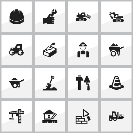 ampoule: Set Of 16 Editable Construction Icons. Includes Symbols Such As Truck, Excavation Machine, Home Scheduling And More. Can Be Used For Web, Mobile, UI And Infographic Design.