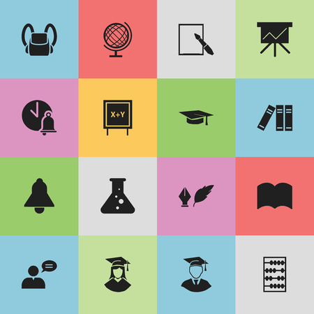 Set Of 16 Editable Education Icons. Includes Symbols Such As Thinking Man, Chemistry, Diplomaed Male And More. Can Be Used For Web, Mobile, UI And Infographic Design.