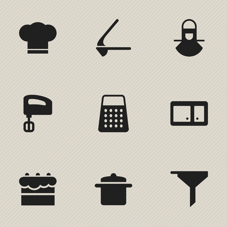 Set Of 9 Editable Meal Icons. Includes Symbols Such As Crusher, Cook Cap, Shredder And More. Can Be Used For Web, Mobile, UI And Infographic Design.