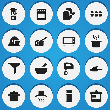 Set Of 16 Editable Meal Icons. Includes Symbols Such As Kitchen Hood, Bakery, Soup Pot And More. Can Be Used For Web, Mobile, UI And Infographic Design. Illustration