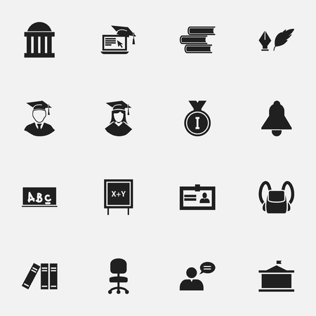 Set Of 16 Editable University Icons. Includes Symbols Such As Univercity, Work Seat, Library And More. Can Be Used For Web, Mobile, UI And Infographic Design.