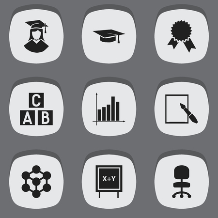 Set Of 9 Editable School Icons. Includes Symbols Such As Molecule, Graph, Victory Medallion And More. Can Be Used For Web, Mobile, UI And Infographic Design. Illustration