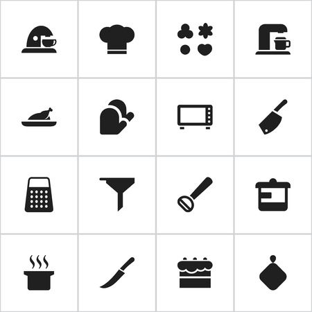 Set Of 16 Editable Meal Icons. Includes Symbols Such As Husker, Pot-Holder, Cook Cap And More. Can Be Used For Web, Mobile, UI And Infographic Design.