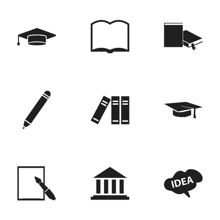 baccalaureate: Set Of 9 Editable Graduation Icons. Includes Symbols Such As Museum, Graduation Hat, Bookshelf And More. Can Be Used For Web, Mobile, UI And Infographic Design.