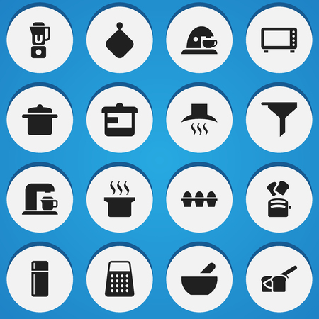 Set Of 16 Editable Food Icons. Includes Symbols Such As Kitchen Hood, Shredder, Cup And More. Can Be Used For Web, Mobile, UI And Infographic Design.