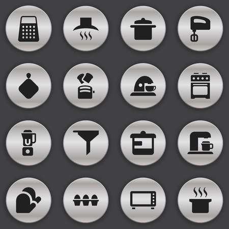 Set Of 16 Editable Cooking Icons. Includes Symbols Such As Cup , Hand Mixer, Agitator. Can Be Used For Web, Mobile, UI And Infographic Design.