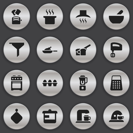 Set Of 16 Editable Cook Icons.