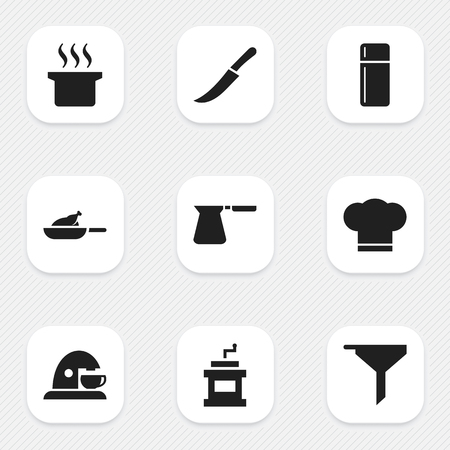 Set Of 9 Editable Cooking Icons. Includes Symbols Such As Refrigerator, Coffee Pot, Soup Pot And More. Can Be Used For Web, Mobile, UI And Infographic Design.
