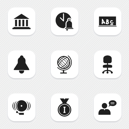 Set Of 9 Editable Science Icons. Includes Symbols Such As Work Seat, Thinking Man, Ring And More. Can Be Used For Web, Mobile, UI And Infographic Design.
