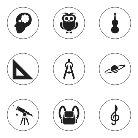 baccalaureate: Set Of 9 Editable University Icons. Includes Symbols Such As Binoculars, Trigon Straightedge, Astrology And More. Can Be Used For Web, Mobile, UI And Infographic Design.